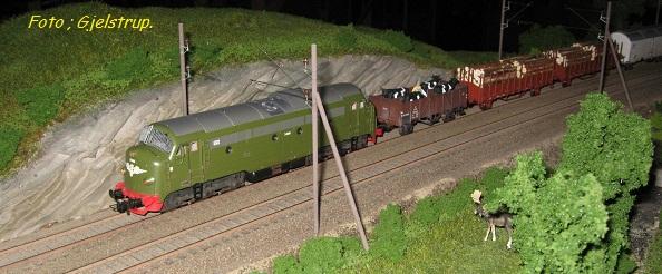 Her er pb vognen kommet på langfart. på et norsk fremo modul